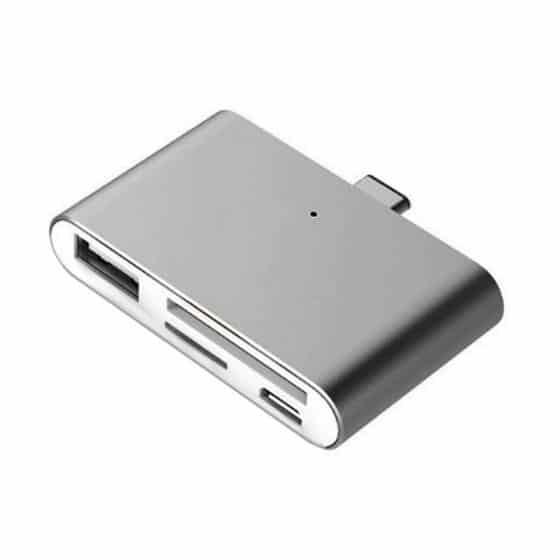 Lecteur de carte USB Type-C pour microSD. SD. USB. USB Micro (Gris)