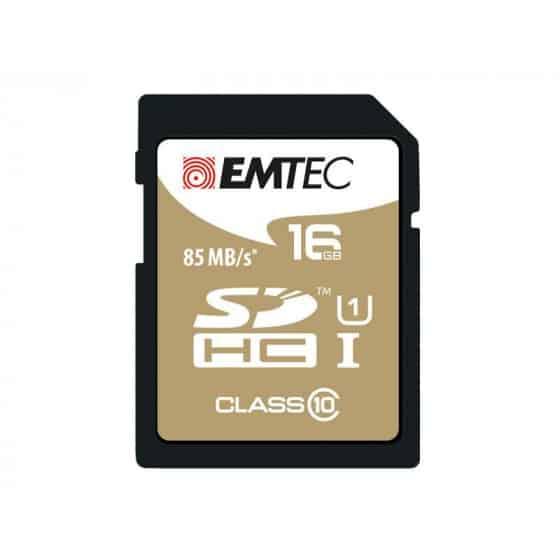 SDHC 16Go EMTEC CL10 Gold+ UHS-I 85MB/s - Sous blister