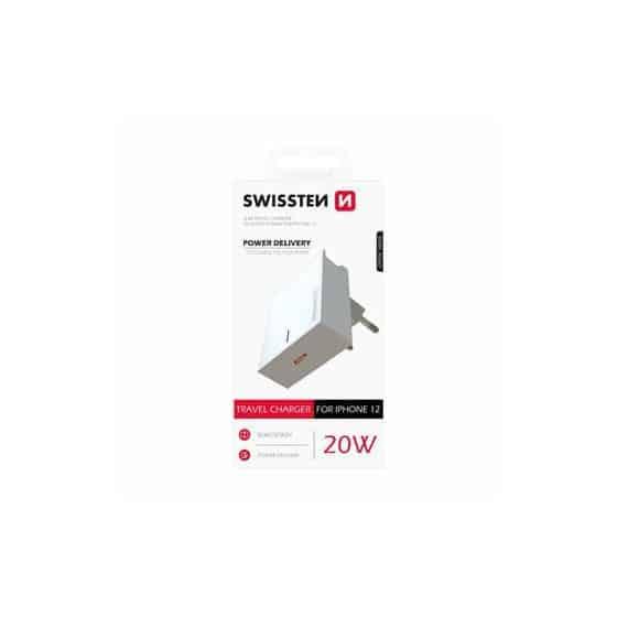 Chargeur Swissten avec entrée USB-C 20W Spécial iPhone 12