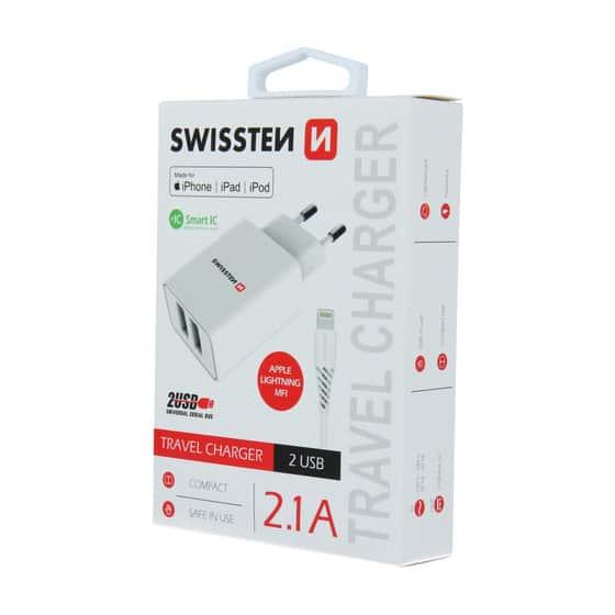 Chargeur 2 ports USB Swissten Smart IC 2.1A + Câble Lightning MFI 1.2m Blanc