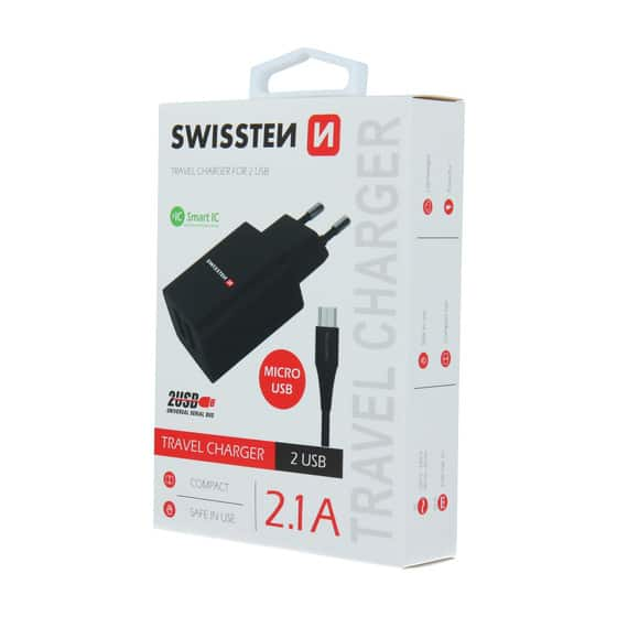 Chargeur 2 ports USB Swissten Smart IC 2.1A + Câble Micro USB 1.2m Noir
