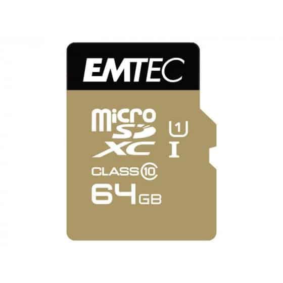 MicroSDXC 64Go EMTEC +adaptateur CL10 EliteGold UHS-I 85MB/s Sous blister