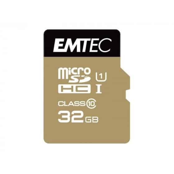 MicroSDXC 32Go EMTEC +adaptateur CL10 EliteGold UHS-I 85MB/s Sous blister