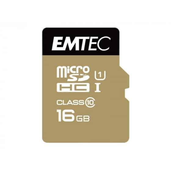 MicroSDXC 16Go EMTEC +adaptateur CL10 EliteGold UHS-I 85MB/s Sous blister