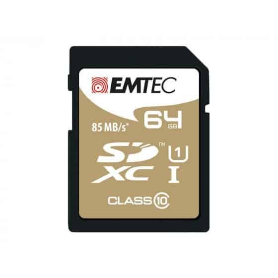 SDXC 64Go Emtec CL10 EliteGold UHS-I 85MB/s - Sous blister