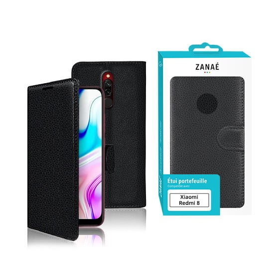 Etui Portefeuille Zanae pour Xiaomi Redmi 8 Noir