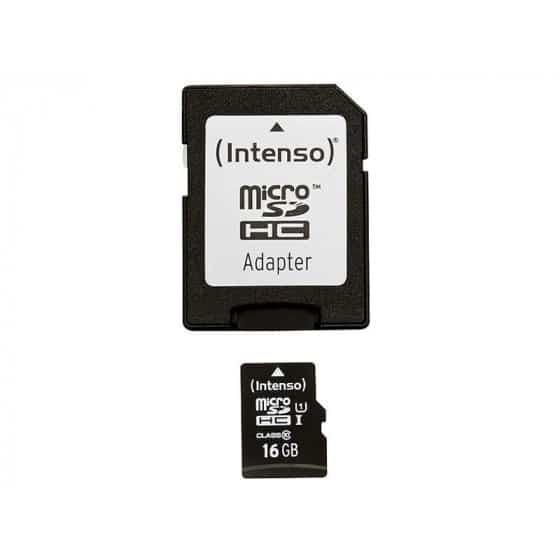 Carte Mémoire Micro SD avec Adaptateur INTENSO 34234 UHS-I Premium Noir 16 GB