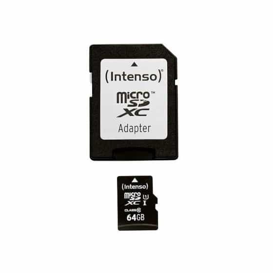 Carte Mémoire Micro SD avec Adaptateur INTENSO 34234 UHS-I XC Premium Noir 64 GB